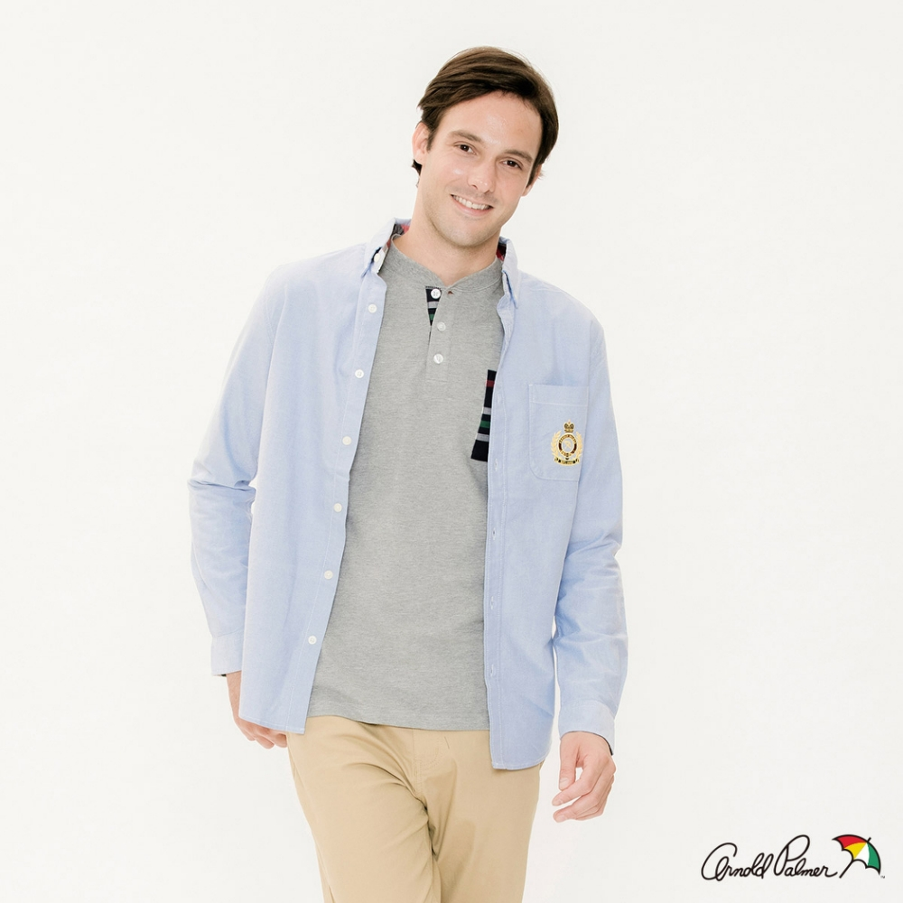 Arnold-Palmer-男裝-刺繡LOGO牛津襯衫-藍