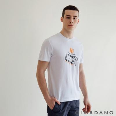 GIORDANO 男裝Greeting印花T恤 - 49 標誌白