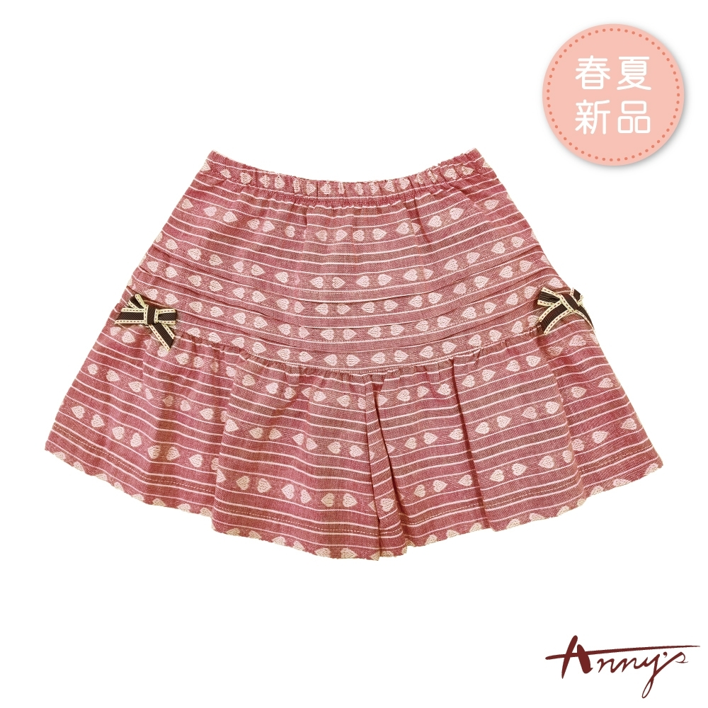 Annys安妮公主-愛心圖騰橫條蝴蝶結春夏款層次鬆緊裙褲*9350紅色