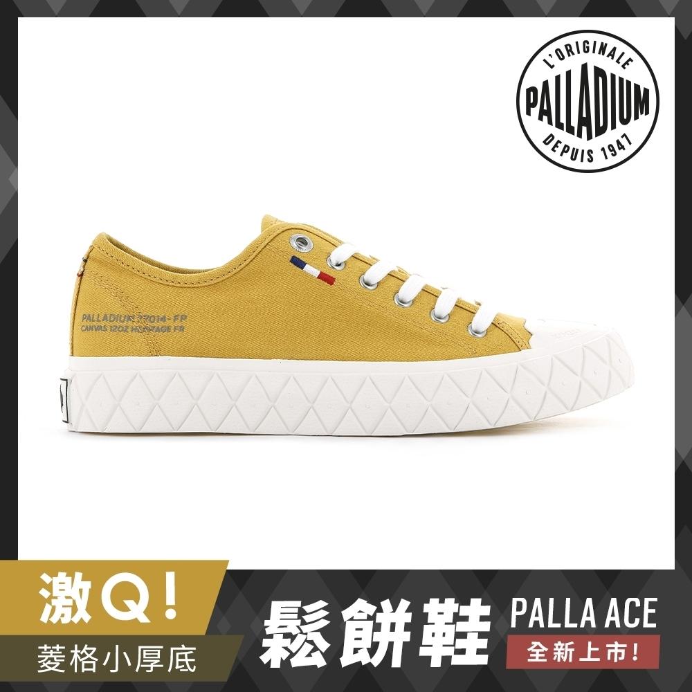 PALLADIUM PALLA ACE CVS格紋厚底帆布鞋-中性-芥末黃