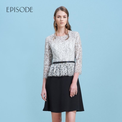 EPISODE - 蕾絲雪紡拼接黑白洋裝