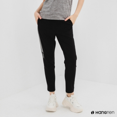 Hang Ten-女裝-恆溫多功能-REGULAR FIT標準四向彈力吸濕快乾抗曬撞色運動長褲-黑色