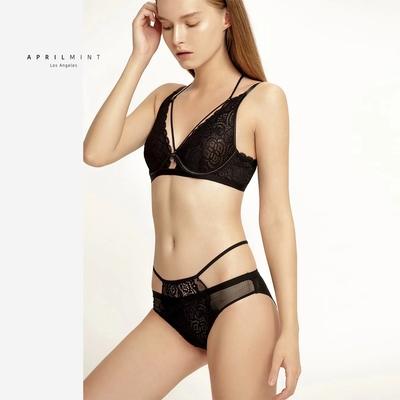 April Mint Los Angeles Black Rose超薄法式復古睫毛蕾絲鋼圈款bra