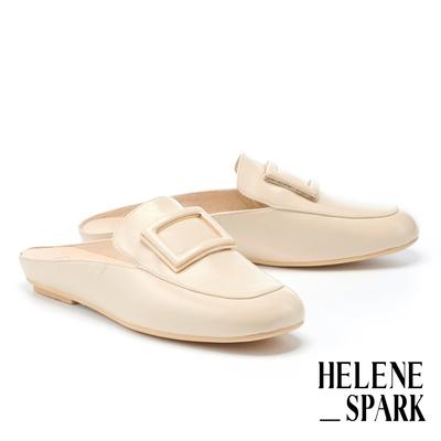穆勒鞋 HELENE SPARK 文青氣質金屬大方釦全真皮穆勒拖鞋-米
