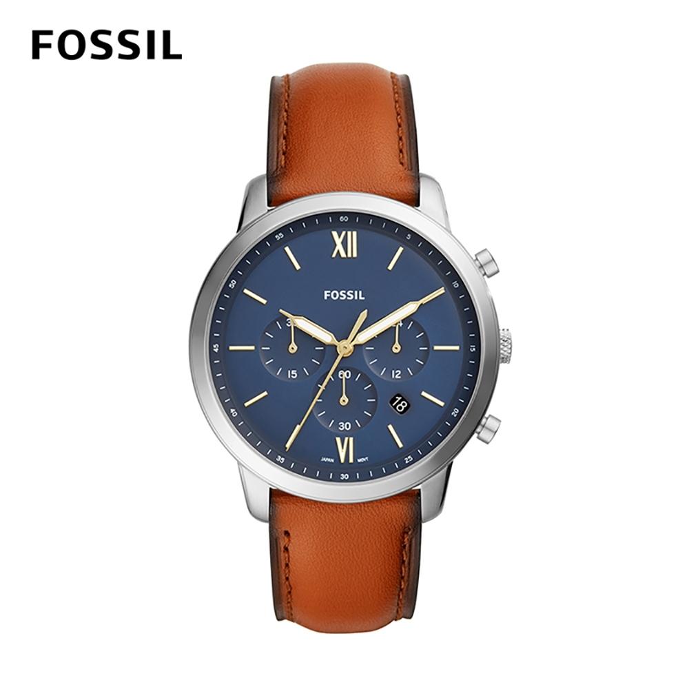 FOSSIL NEUTRA CHRONOGRAPH 棕色皮革男錶 44mm FS5453
