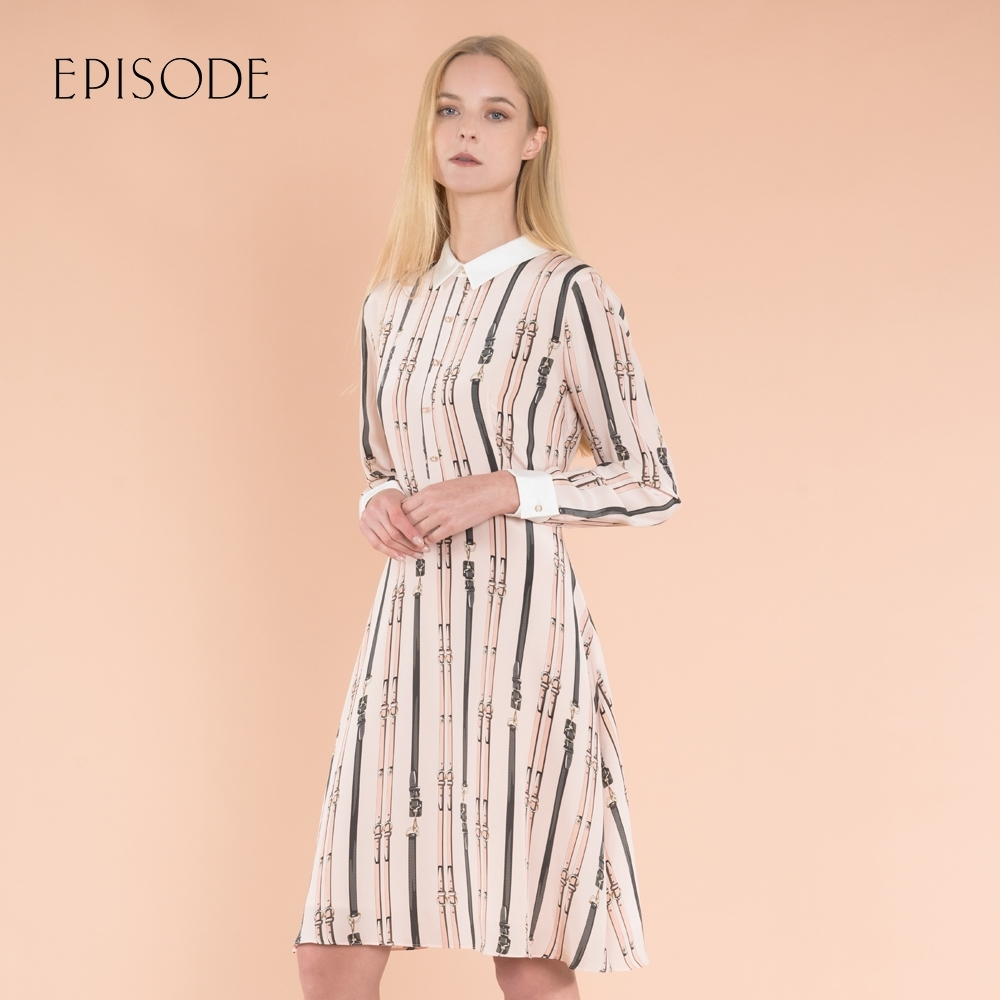 EPISODE - 氣質顯瘦真絲印花中長款洋裝