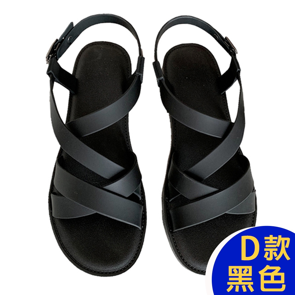 [時時樂限定]-KW韓國美鞋館 晴雨兩穿防水懶人鞋涼鞋涼跟鞋 (D款-黑)