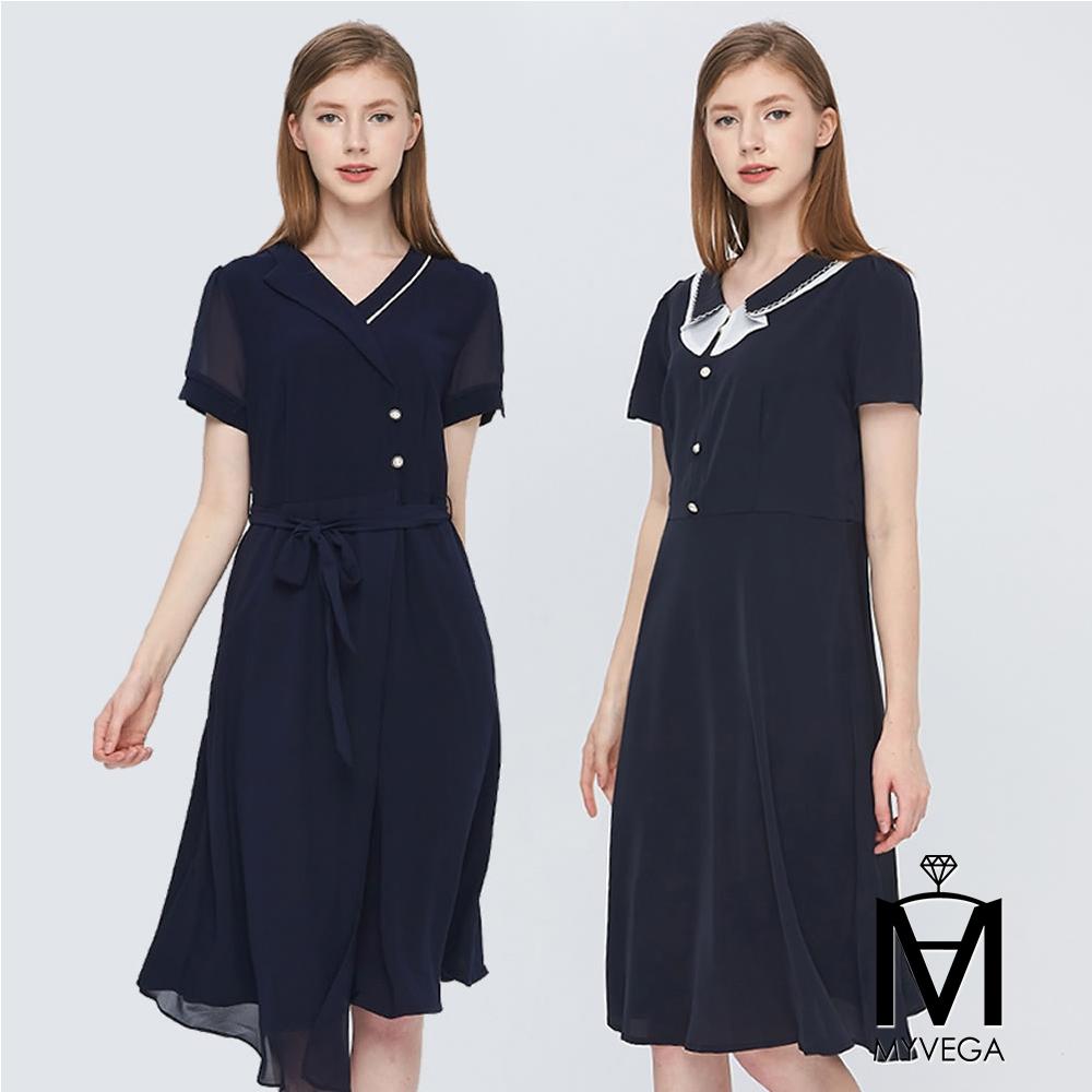 MYVEGA麥雪爾 纖腰遮臀顯瘦雪紡洋裝-二款任選