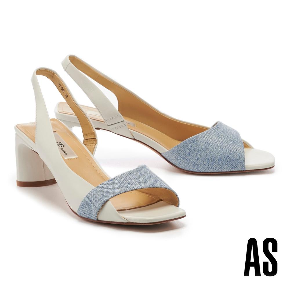 高跟鞋 AS 愜意時髦異材質拼接後繫帶羊皮方頭魚口高跟鞋-白
