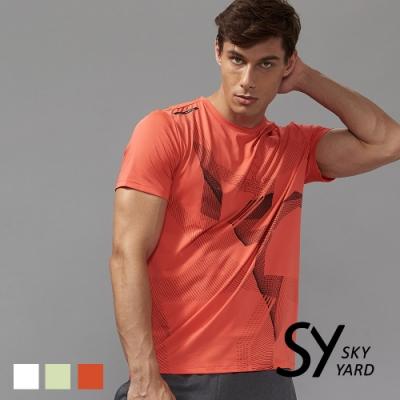 【SKY YARD 天空花園】幾何線條透氣網布運動T恤-紅色