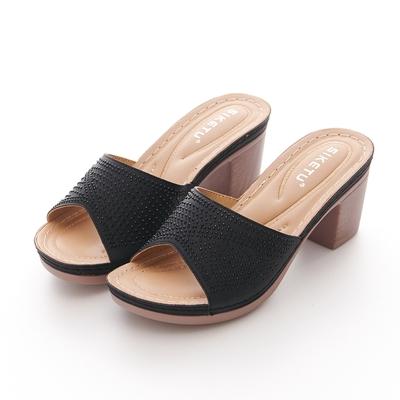 JMS-時尚閃耀點點鑽飾厚底粗高跟涼拖鞋-黑色