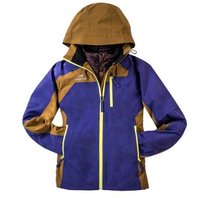 法國【EiDER】女超輕兩件式防水保暖透氣連帽外套 /EIT2405-藍紫/橄綠