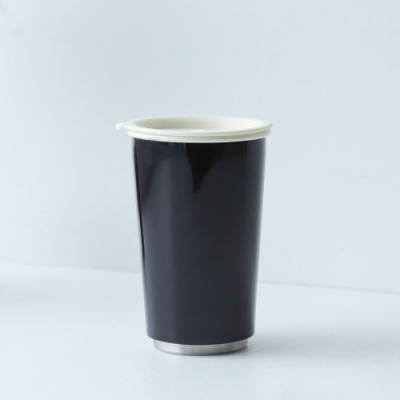 JIA Inc.虹彩鋼 雙層琺瑯塗層隨行杯350ml(黑色)(快)