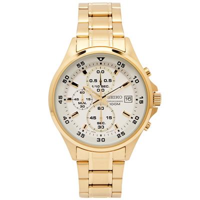 SEIKO 競速時尚感的三眼計時手錶(SKS632P1)-白面X金色/43mm