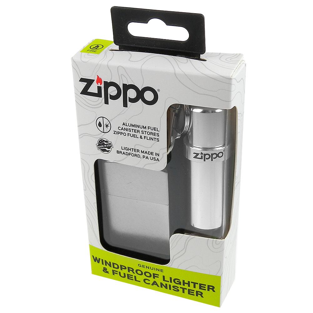 ZIPPO 美系~街頭風鍍鉻銀色霧面打火機+油料補充罐套組