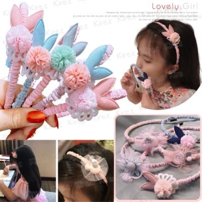 韓國可愛造型花邊兒童髮箍 布質纏繞髮帶 可愛粉嫩色系兔子花朵棒棒糖小熊米奇風任選Kiret