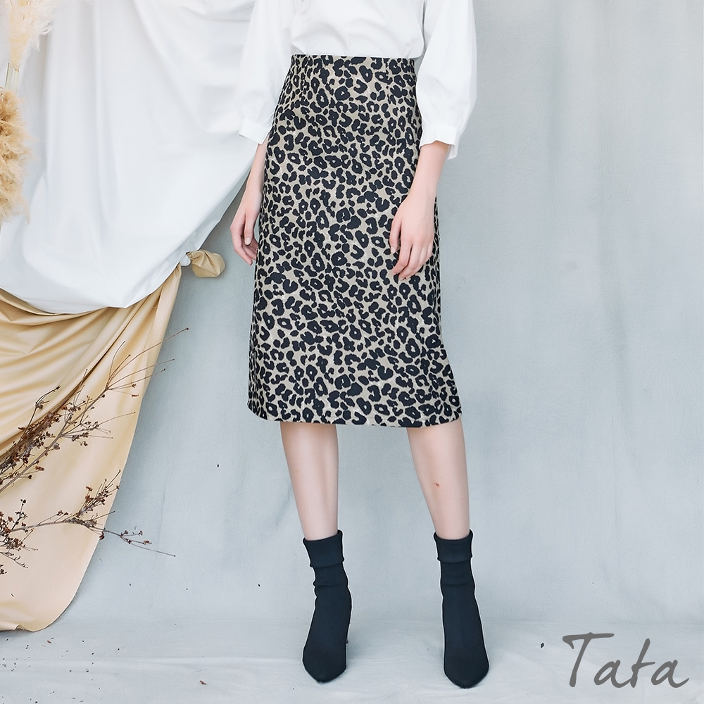 A字豹紋開岔長裙 TATA-(S~L) (豹紋)