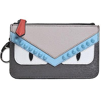 FENDI Bag Bugs 灰拼色牛皮鉚釘魔眼拉鍊零錢/鎖匙包(灰色系)