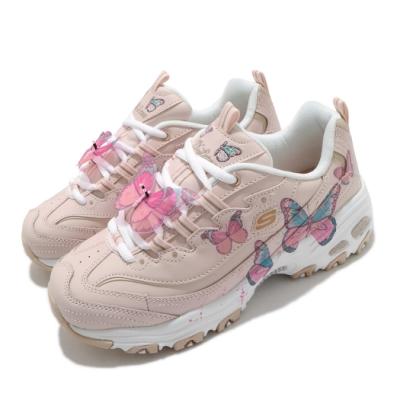 Skechers 休閒鞋 D Lites 老爹鞋 厚底 增高 女鞋 蝴蝶可拆 皮革鞋面 修飾 記憶型泡棉鞋墊 粉 白 149233LTPK