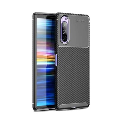 TOTOMO  Sony Xperia 5 保護殼套-手機殼時尚碳纖紋路+抗指紋-NEW-黑