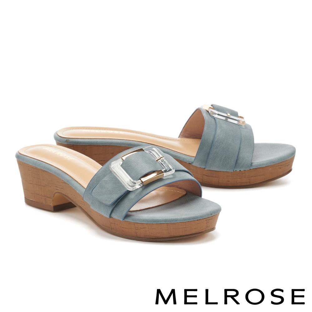 拖鞋 MELROSE 個性金屬透明方釦一字高跟拖鞋-藍