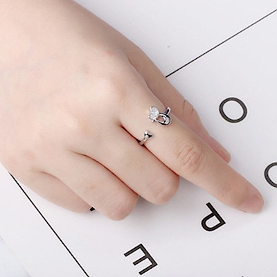 Hera 赫拉 鑲鑽可愛萌貓開口戒指