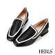 HERLS樂福鞋 全真皮滾邊造型方頭低跟樂福鞋 黑色 product thumbnail 1