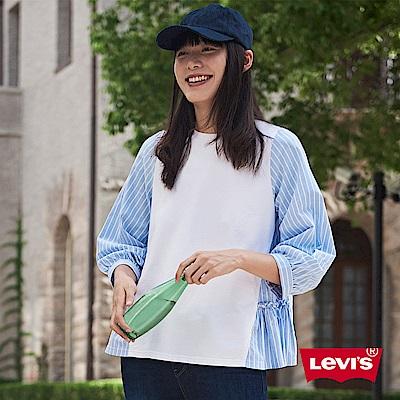 Levis 拼接襯衫 女裝 寬鬆7分袖 褶皺下襬