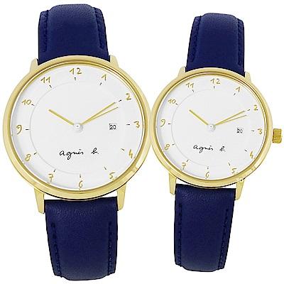 agnes b. 真皮情人對錶手錶BS9005J1 / B4A004J1-33/38mm