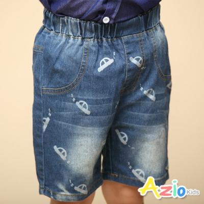 Azio Kids 男童 短褲 滿版汽車刷白牛仔短褲(藍)