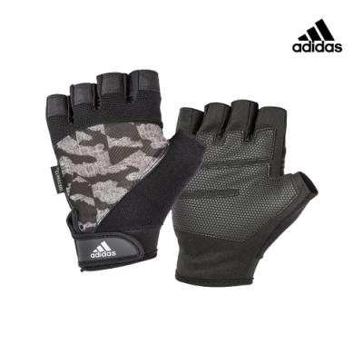 【Adidas愛迪達】Adidas Training透氣防滑短指手套(迷彩灰)