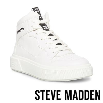 STEVE MADDEN-HOOP 基本款拼接高筒小白鞋-白色