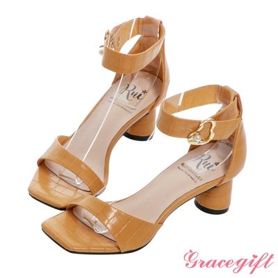 Grace gift X Rui-聯名一字珍珠帶釦中跟涼鞋  芥黃