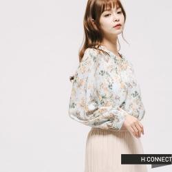 H:CONNECT 韓國品牌 女裝 - V領排扣碎花雪紡襯衫 - 綠