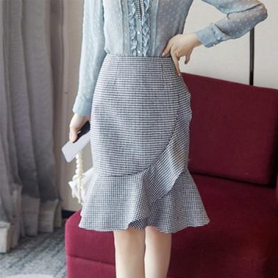 設計所在Lady-魚尾裙高腰荷葉邊A型中長包臀(S-XL可選)