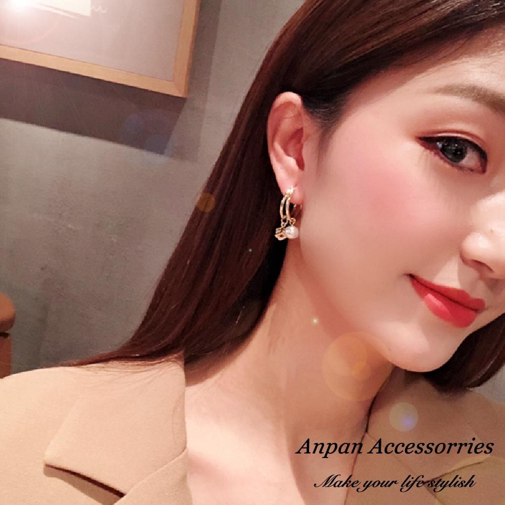 【全館五折】ANPAN愛扮韓東大門雙層金屬珍珠方形鏤空水晶耳環