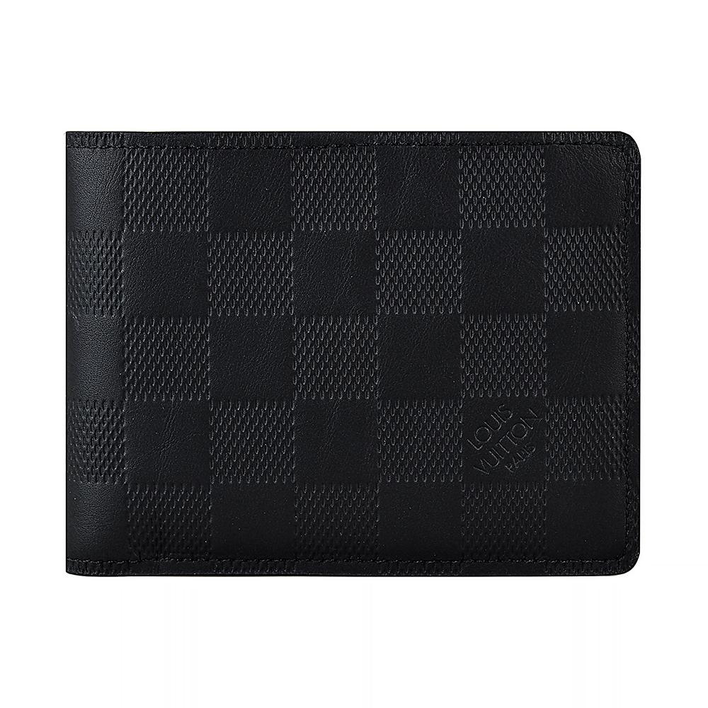 LV N63124 MULTIPLE棋盤格 Damier Infini皮革3卡對折短夾(黑