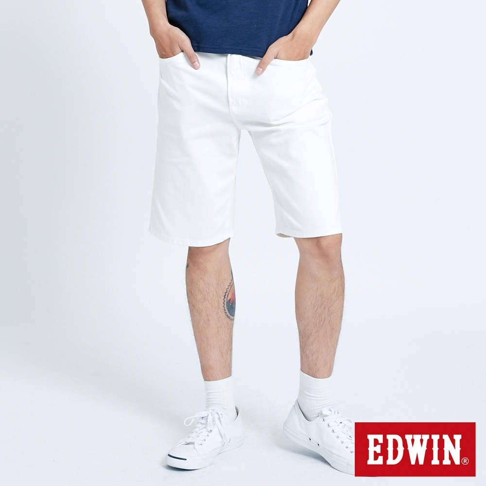 EDWIN JERSEYS 迦績 EJ3 涼感 復古棉 休閒短褲-男-白色