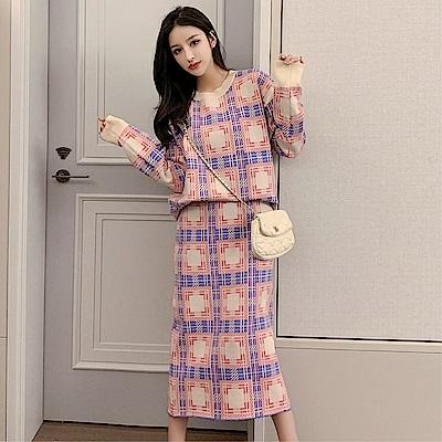 DABI 韓國風復古格紋毛衣針織長裙套裝長袖裙裝