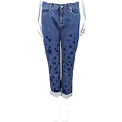 Stella McCartney 絨布星星補丁貼深藍色牛仔男友褲