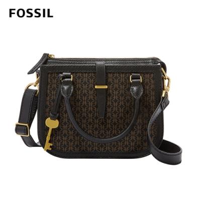 FOSSIL RYDER MINI 真皮迷你帆布圓弧側背包-黑咖雙色 ZB7721015