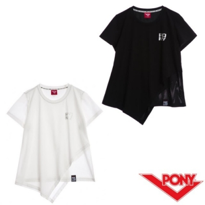 【PONY】不規則短袖上衣T恤-女款-白 黑
