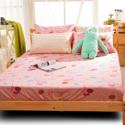 Carolan 馬卡龍-粉 精梳純棉加大枕套床包組(6x6.2尺)