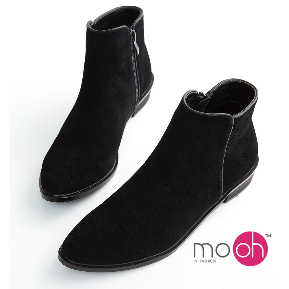 mo.oh-麂皮低跟尖頭拉鏈短靴-黑色