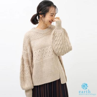 earth music 不對稱剪裁編織感蓬袖針織衫