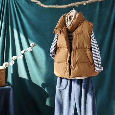 素色立領拉鏈坎肩馬甲外套寬鬆加厚麵包服馬夾-設計所在