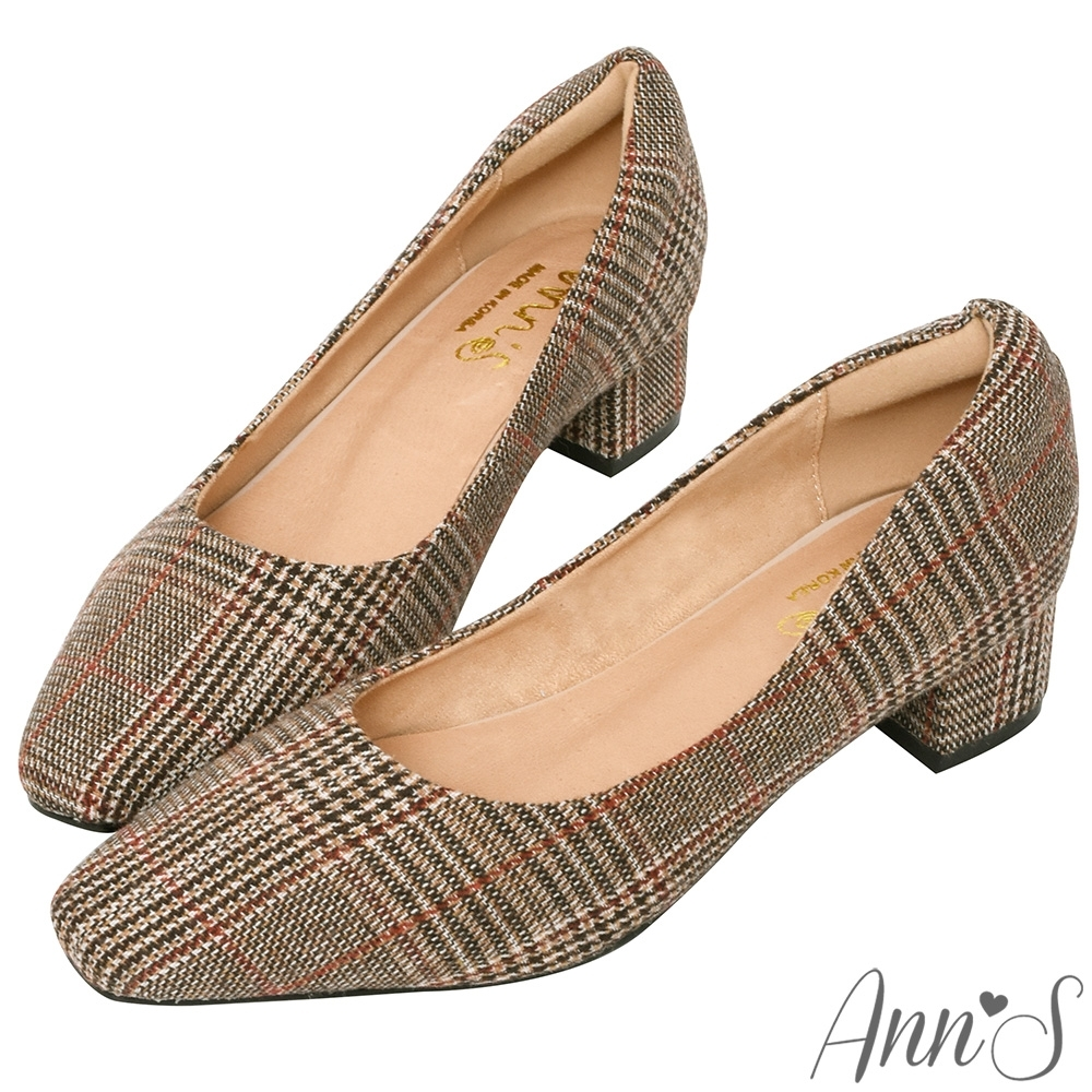 Ann'S真的很舒服-千鳥格紋毛呢粗跟小方頭鞋-咖