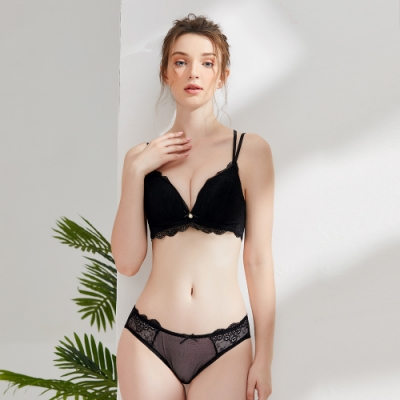 Olivia 無鋼圈蕾絲美背內衣+褲套組-黑色