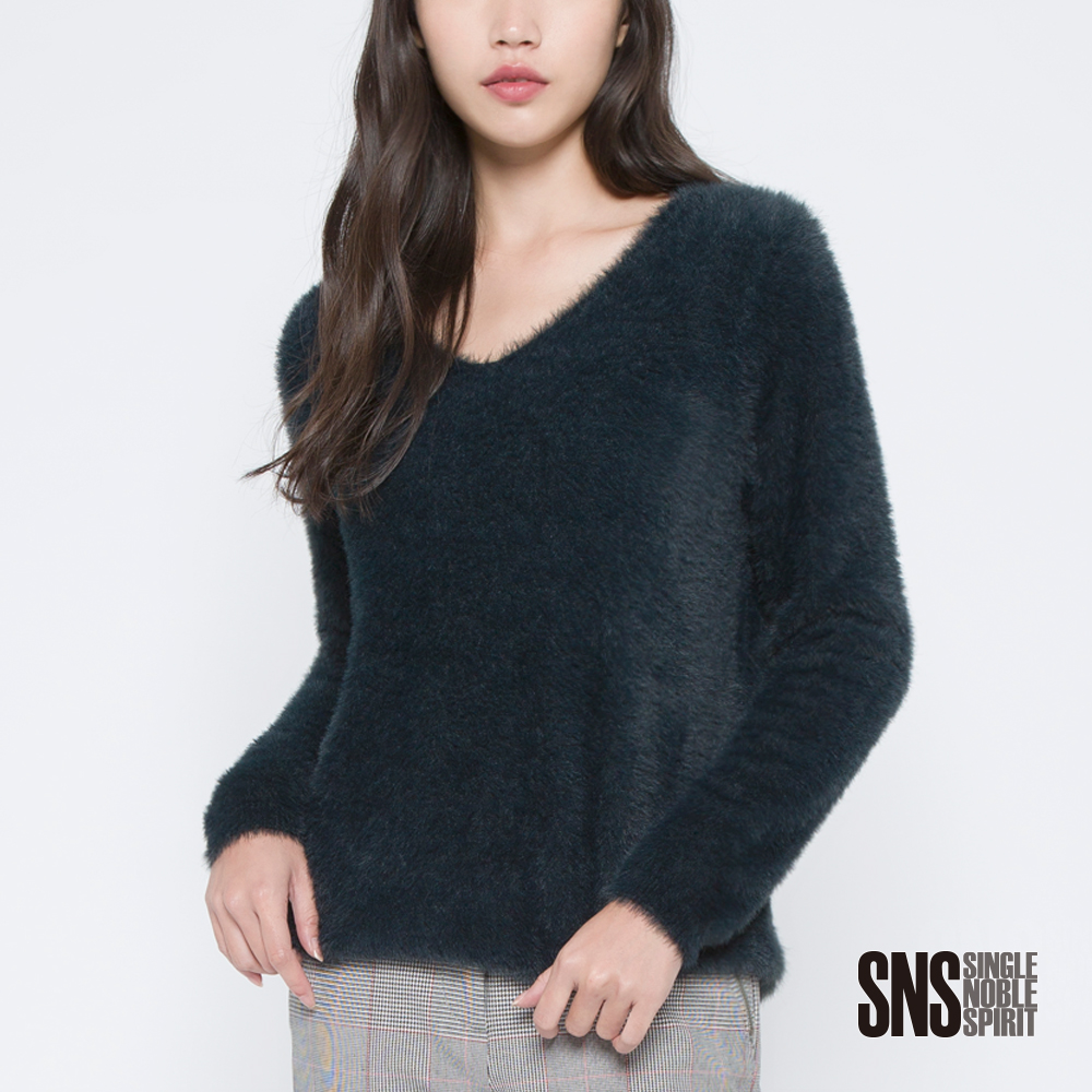 SNS 都會前線舒適絨毛V領針織衫(2色)