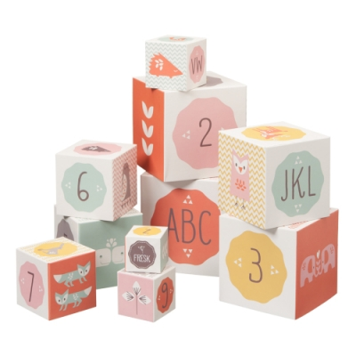 荷蘭 FRESK 益智玩具-正方體精緻數字紙盒組 (2款顏色)